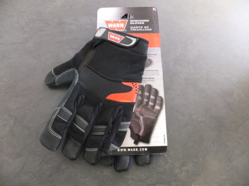 Leather/warn gloves with eyelets and karabiner hooks