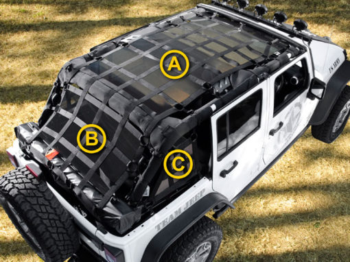 Jeep Wrangler Cargo net with removable Webshade